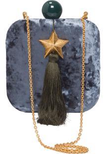 Clutch Veludo Estrela - Azul