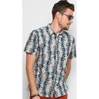Camisa Colcci Manga Curta Slim Tucanos Masculina - Masculino-Verde+Bege 71a6ecb5477a0