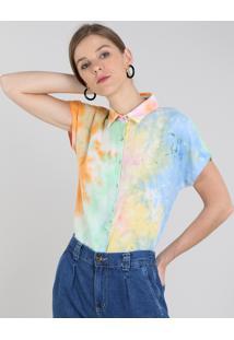 Camisa Feminina Tie Dye Manga Curta Multicor