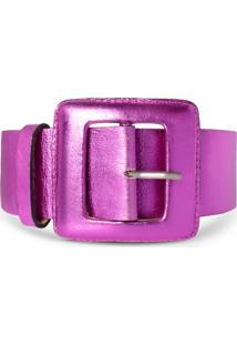 Cinto Couro Vb Cintos Pink Metalizado Fivela Quadrada Pink - Pink - Feminino - Dafiti