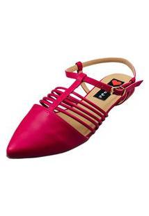 Sapatilha Bico Fino Love Shoes Aberta Fivela Detalhes Tirinhas Rosa