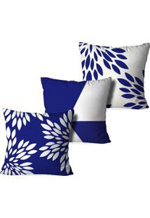 Kit 3 Capas Para Almofadas Decorativas Love Decor Geometric Form Multicolorido Azul