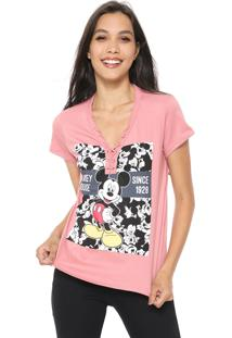 Camiseta Cativa Disney Lace Up Rosa