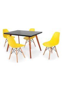 Conjunto Mesa De Jantar Gih 120X80Cm Preta Com 4 Cadeira Eames Eiffel - Amarelo