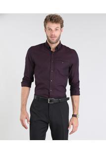 Camisa Masculina Comfort Maquinetada Manga Longa Vinho