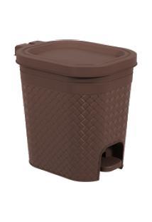 Lixeira Com Pedal 6,5L Cinza Frio Craft Coza 26,8 X 19,7 X 25,7 Cm Marrom Coza