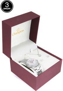 Kit 3Pçs Relógio Champion Cn25833F Prata