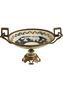 Fruteira Decorativa De Porcelana Com Bronze - Unissex