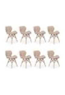Kit 08 Cadeiras Charles Eames Eiffel Slim Wood Estofada - Nude