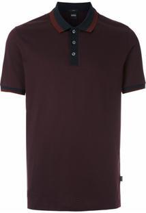 Boss Camisa Polo Listrada - Vermelho