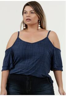 Blusa Feminina Open Shoulder Quadriculada Plus Size Marisa