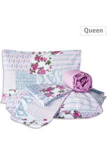Jogo De Lençol Queen Patchwork 4 Pçs - Marina Bordados - Un