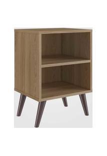 Mesa De Cabeceira C/ Prateleira Oak Completa Móveis