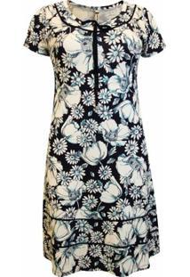 Vestido Pau A Pique Estampado - Feminino-Marinho