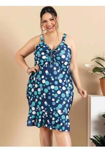 Vestido Plus Size Poá Azul Com Franzido