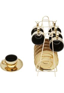 Conjunto De 6 Xícaras De Porcelana Wolff Para Café Com Pires Preto E Dourado Versa 90Ml