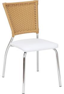 Cadeira De Cozinha Em Alumínio Cor Branca Com Natural - 1 Unidade - Rcc115 - Alegro