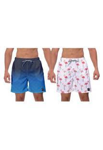 Kit 2 Shorts Moda Praia Azul Branco Flamingo Caminhada Esporte Banho Surf W2