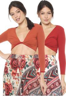 Blusa Cropped Dress To Dupla Face Vermelha/Laranja