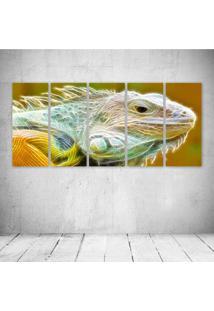 Quadro Decorativo - Iguana Neon Face - Composto De 5 Quadros