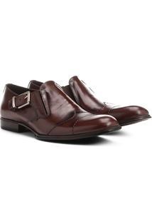 Sapato Social Couro Shoestock Fivela Lateral - Masculino-Café