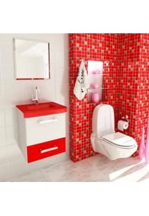 Conjunto Para Banheiro Vetro Branco E Vermelho