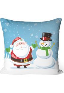 Capa De Almofada Love Decor Avulsa Decorativa Papai Noel Com Boneco De Neve Azul