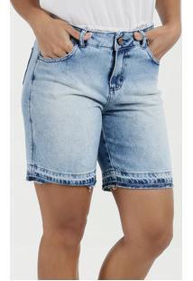 Bermuda Feminina Jeans Barra Desfiada Gups