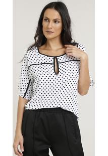 622e5cf953 CEA. Blusa Feminina Estampada De Poá Com Vazado Manga Curta Decote Redondo Off  White