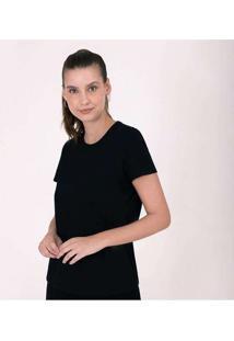 Camiseta Reta Feminina Gola C Anti Odor Cinza