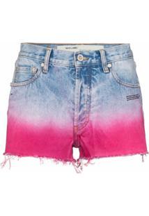 Off-White Short Jeans Bicolor - Azul