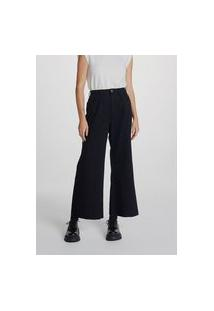 Calça Jeans Feminina Wide Leg Cropped