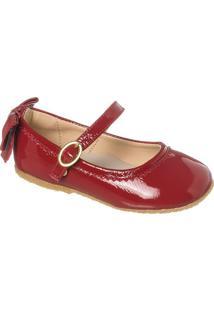 Sapato Boneca Em Couro Com Laã§O - Vermelho & Begetoke