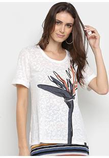 Blusa Maria Filó Devorê Estampada Feminina - Feminino-Branco+Azul
