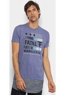 Camiseta Fatal Dry Alongada Masculina - Masculino-Azul Escuro