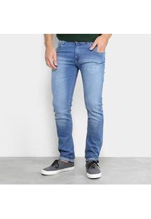 Calça Jeans Skinny Coffee Lavagem Clara Masculina - Masculino-Azul Claro