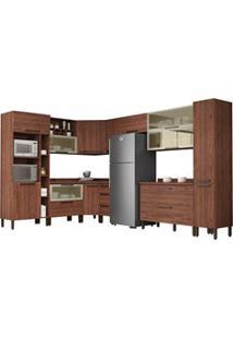 Cozinha Modulada Completa 15 Peças Viv Concept C12 Nogueira/Off White
