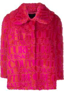 Versace Jeans Couture Logo Faux Fur Jacket - Vermelho