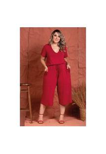 Macacão Comfy Vermelho Queimado Plus Size 56 Domenica Solazzo Macacão Vermelho