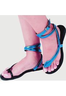 Sandalia Rasteira Mercedita Shoes Cobra Azul Metalizada + Brinde