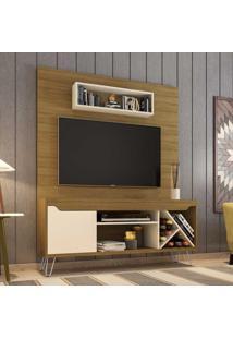 Estante Para Tv Até 52 Polegadas 1 Porta 5 Prateleiras Com Adega Lauren 2075342 Cinamomo/Off White - Bechara Móveis