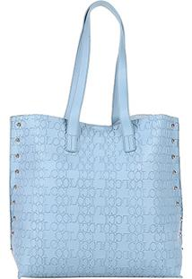 Bolsa Colcci Shopper Croco Tachas Feminina - Feminino-Azul Claro