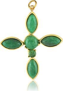 Pingente Toque De Joia Cruz Com Pedra Natural Quartzo Verde Amarelo - Kanui