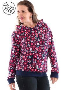 Blusão Konciny Moletom Canguru Plus Size Estampado Rosa