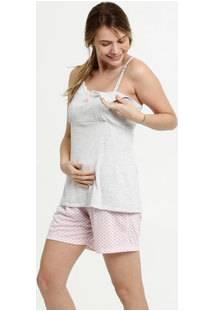 Pijama Feminino Amamentação Alças Finas Brinde Marisa