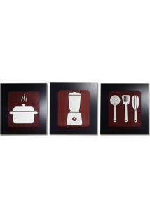 Kit 3 Quadros Decorativos Para Cozinha E Restaurante Fabricado Em Mdf Com Relevo 33X30Cm