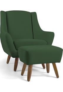 Poltrona Decorativa Com Puff Sala De Estar Pés De Madeira Naomi Algodão Verde - Gran Belo