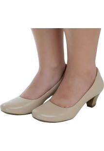 Scarpin Laura Prado Confort Bico Redondo Marfim