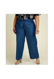 Calça Plus Size Feminina Jeans Pantacourt Clochard Cargo