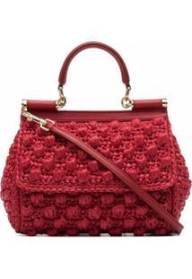 Dolce & Gabbana Bolsa Tiracolo Corredo De Palha - Vermelho